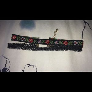 3 chokers, Pink , and Black/Floral